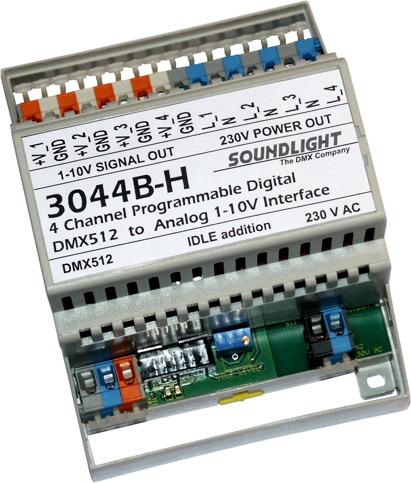 3044B-H | DMX 1-10V Interface 4ch, 4 relais