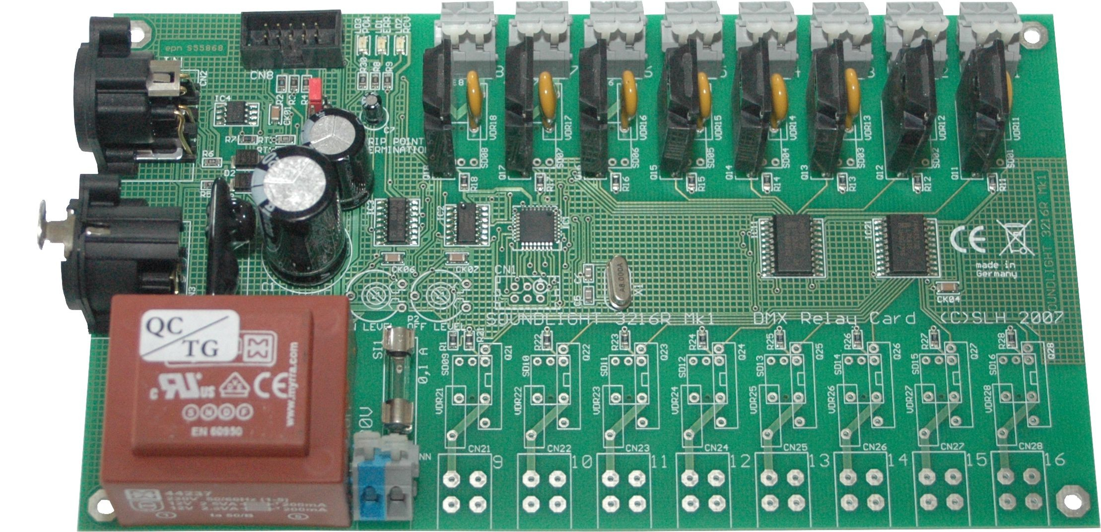 3308R-EP   Relaiskaart DMX512 8x500W, RDM
