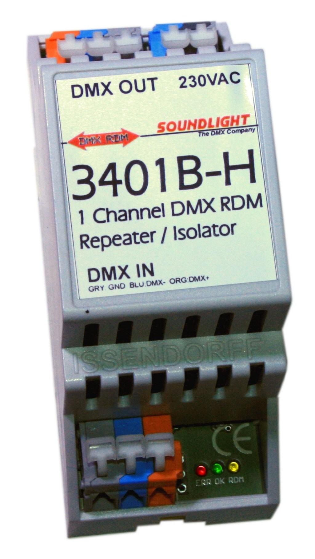 3801B-H   DMX DALI bus Interface 5 dali adress/groups   RDM