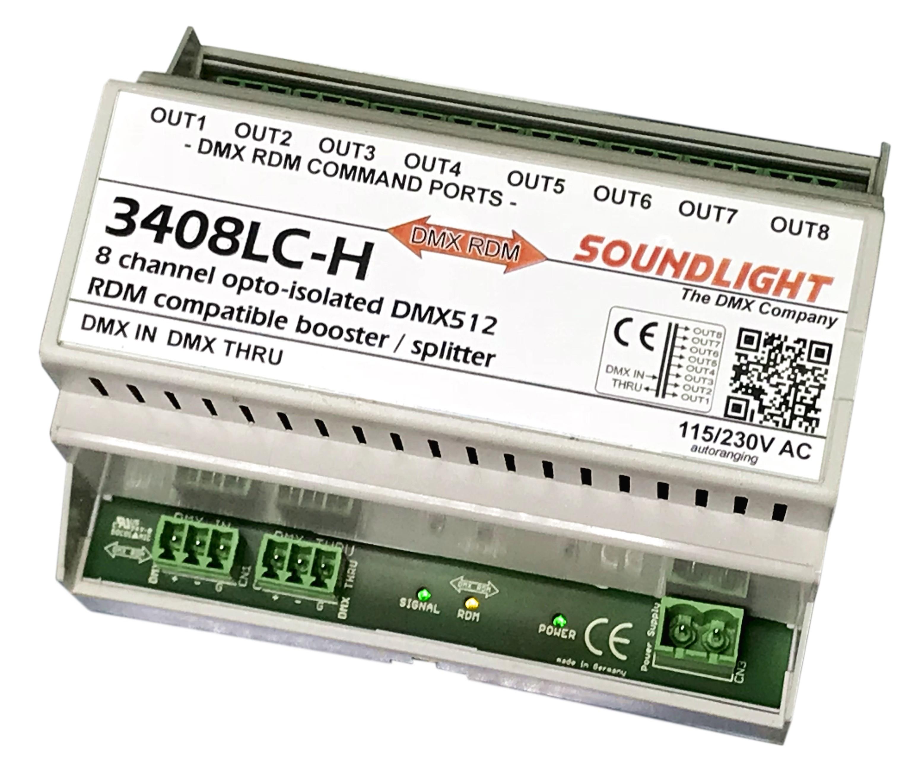3408LC-H   DMX Splitter/Booster 8-voudig   RDM