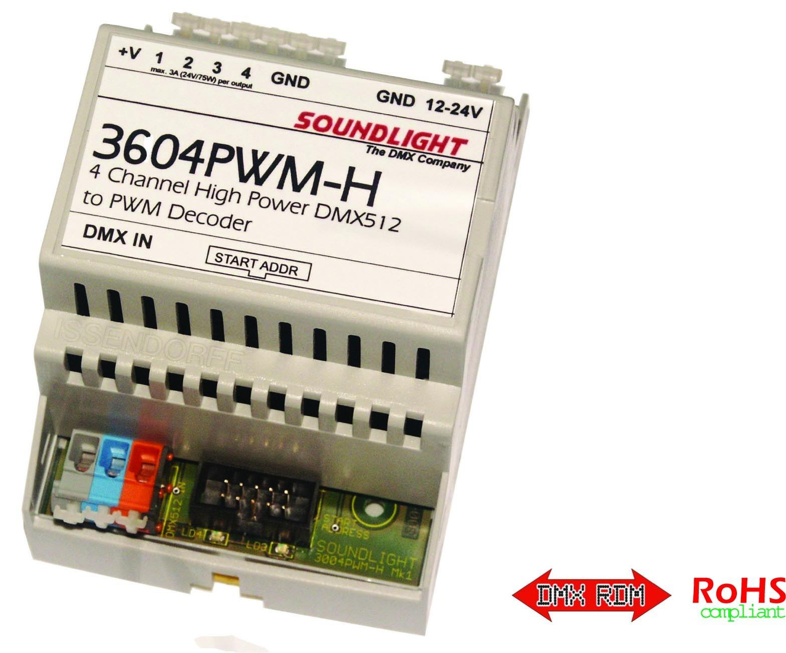 3604PWM-H | DMX / PWM decoder, RDM